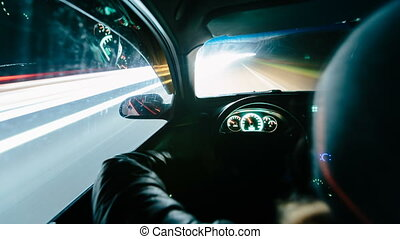 Driving at night time lapse night video. View from inside...