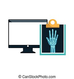 computer and X rays - monitor computer and X ray digital...