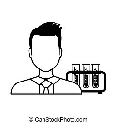 avatar man laboratory doctor with test tubes silhoutte....