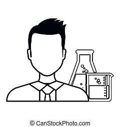 avatar man laboratory doctor with flask chemistry bottles...