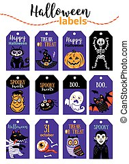 Set of vintage Happy Halloween badges and labels. Cartoon...