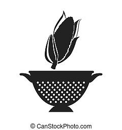 vegetable and kitchen colander - corn fresh vegetable and...