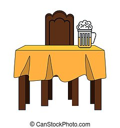 dinner table with yellow tablecloth and beer mug. vector...