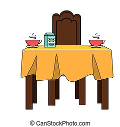 dinner table with yellow tablecloth and hot cups and milk...