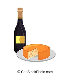 wine bottle and cheese - wine bottle and gourmet cheese...