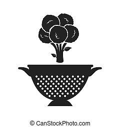 vegetable and kitchen colander - broccoli fresh vegetable...