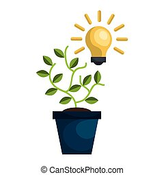 plant in a pot - green plant in a pot and bulb light idea....