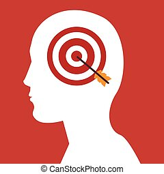 human head profile with target and bow icon over red...