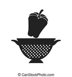 vegetable and kitchen colander - red pepper fresh vegetable...
