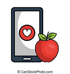 smartphone and apple fruit - smartphone with heart shape...