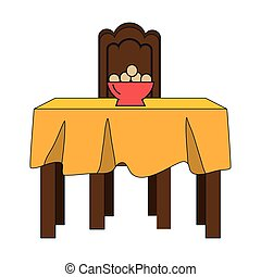 dinner table with yellow tablecloth and bowl with eggs....