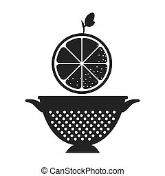 fruit and kitchen colander - orange fresh fruit and kitchen...