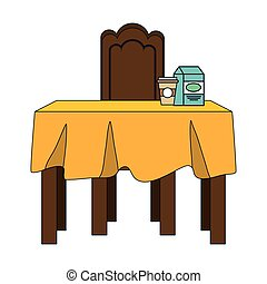 dinner table with yellow tablecloth and coffee mug and milk...