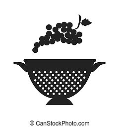 fruit and kitchen colander - bunch of grapes fresh fruit and...