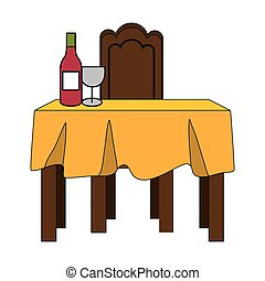 dinner table with yellow tablecloth and wine bottle. vector...