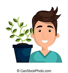 avatar man smiling and green plant in a pot. vector...