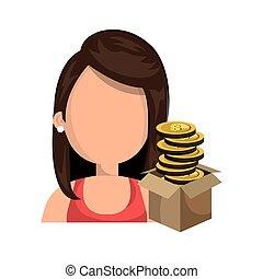 opened carton box with money - avatar woman and opened...