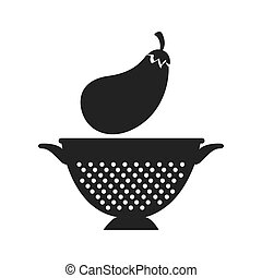 vegetable and kitchen colander - eggplant fresh vegetable...