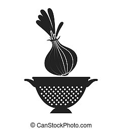 vegetable and kitchen colander - onion fresh vegetable and...