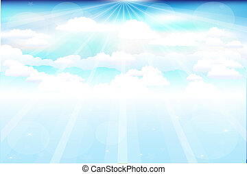 Beautiful Clouds With Rays - Beautiful Blue Vector Sky With...