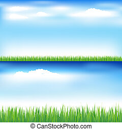 Green Grass And Blue Sky - 2 Beautiful Landscapes With Green...