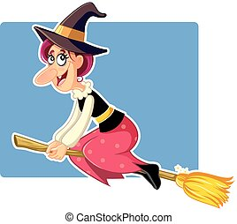 Funny Halloween Witch on a Broomstick Vector - Illustration...