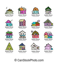Art houses collection, sketch for your design. Vector...
