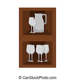 kitchen furniture wooden with glass cups. vector...