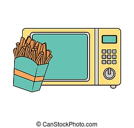 microwave oven with fast food - microwave oven with french...