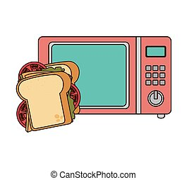 microwave oven with fast food - microwave oven with sandwich...