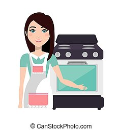 cooker woman with oven