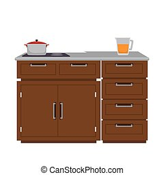 kitchen furniture wooden with drawers and pot . vector...