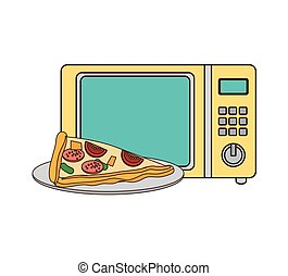 microwave oven with fast food - microwave oven with pizza...
