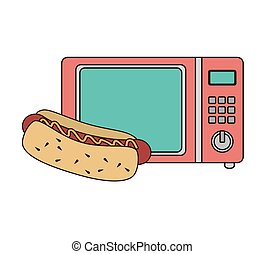 microwave oven with fast food - microwave oven with hot dog...