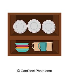 kitchen furniture wooden with dishes and cups. vector...