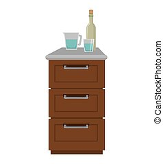 kitchen furniture wooden drawers and bottle and cup. vector...