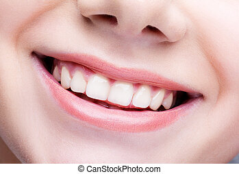 Close-up shot of female mouth make-up - Closeup shot of...