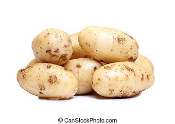Potatos on white - Raw potatos vegetable on white background