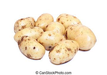 Potatos on white background - Raw potatos vegetable on white...