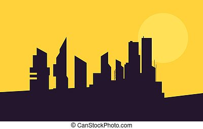 At sunset building landscape of silhouette