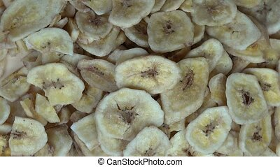 Dried banana slices. clockwise turntable - Dried banana...