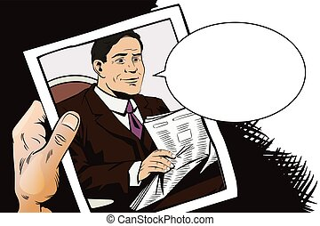 People in retro style. Businessman reads newspaper. - Stock...