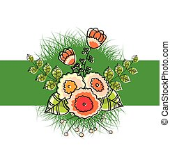 Retro Scrapbooking Flowers Vector