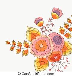 vector, colorido, follaje, Plano de fondo