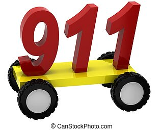 3d Symbols 911 on wheels on white background