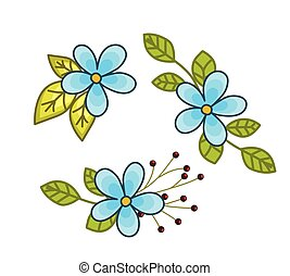 Blooming Flowers Elements Vector Illustration