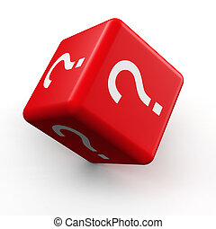 Guessing game concept - Question mark symbol dice rolling 3d...