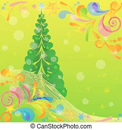 Christmas Low Poly Background with Fir Tree - Christmas Low...