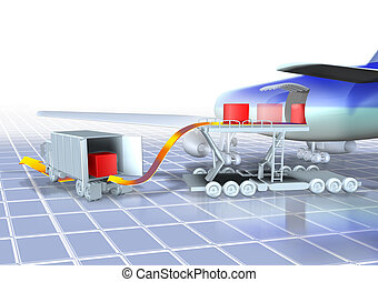 logistics air - 3d illustration, logistics airplane and...