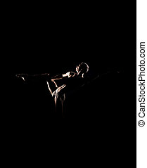 Silhouette trace of a male ballet dancer on black -...